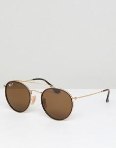 Круглые солнцезащитные очки Ray-Ban 0RB3647N - Коричневый