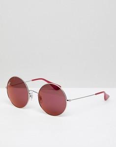 Круглые солнцезащитные очки с розовыми стеклами Ray-Ban Jajo 0RB3592 - Серебряный