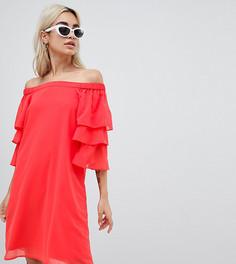 Платье с открытыми плечами и ярусными рукавами Vero Moda Petite - Красный