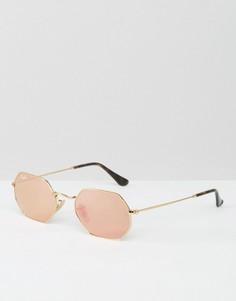 Солнцезащитные очки в шестиугольной оправе с золотисто-розовыми стеклами Ray-Ban 0RB3556N - Золотой