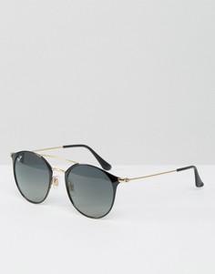 Солнцезащитные очки в круглой оправе с двойной переносицей Ray-Ban 0RB3546 - Черный