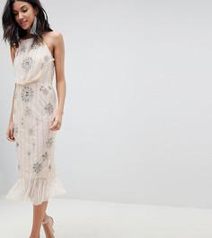 Платье-футляр с отделкой и баской эксклюзивно от ASOS DESIGN Tall - Розовый
