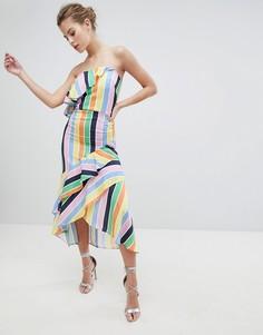 Платье-бандо миди с оборкой True Violet - Мульти