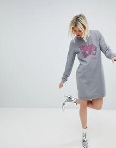 Трикотажное платье с логотипом из пайеток Love Moschino - Серый