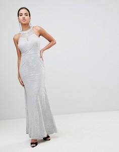 Платье макси с кружевом и высоким воротом AX Paris - Серый