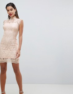 Кружевное платье-футляр AX Paris - Розовый