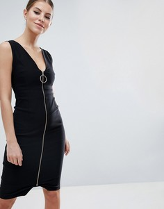 Платье-футляр миди на молнии с кольцом на бегунке молнии Vesper - Черный