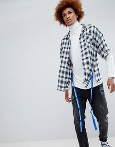 Oversize-рубашка в клетку с отделкой лентой D-Antidote - Белый