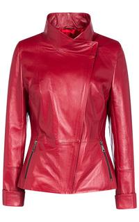Кожаная куртка с косой застежкой La Reine Blanche