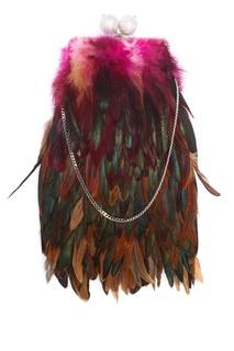Шелковый клатч с перьями Dragonfly Esve