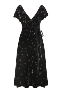 Платье из бархата с принтом Valentino