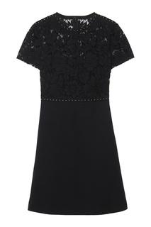 Платье с кружевом и заклепками Valentino