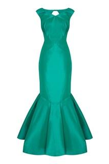 Зеленое шелковое платье с кроем годе Zac Posen