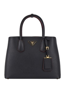 Черная кожаная сумка Double Bag Prada