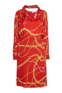 Платье из шелка с принтом Balenciaga