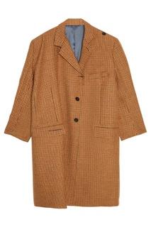 Пальто из шерсти и мохера в клетку Balenciaga
