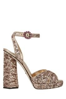Кожаные босоножки с пайетками Dolce&;Gabbana