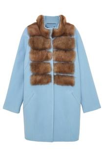 Пальто из шерсти и кашемира с мехом куницы Dreamfur