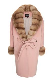Розовое пальто с мехом куницы Dreamfur