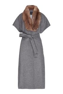 Кашемировое пальто с воротником из меха куницы Dreamfur