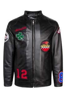 Кожаная куртка с аппликацией Dolce&Gabbana Children