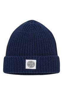 Вязаная шапка с логотипом Stone Island Children