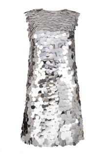 Платье с серебристыми пайетками Miu Miu