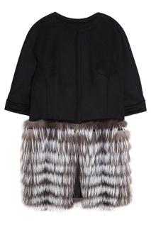 Кашемировое пальто с мехом чернобурки Dreamfur