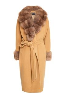 Пальто из кашемира и шерсти с мехом куницы Dreamfur