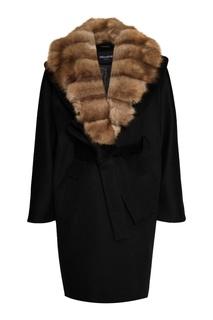 Черное кашемировое пальто с мехом куницы Dreamfur
