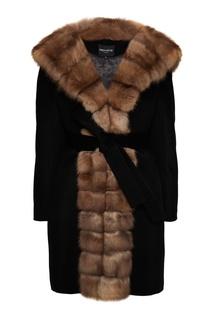 Черное пальто из кашемира и шерсти с мехом куницы Dreamfur