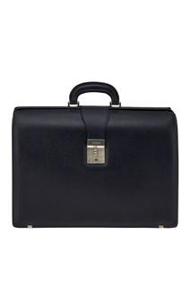 Синий кожаный портфель Canali