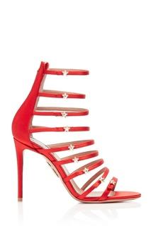 Босоножки из красного сатина Crystal Star Sandal 105 Aquazzura