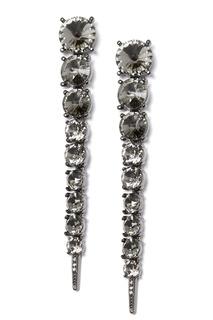 Длинные серьги-клипсы с кристаллами Oscar de la Renta
