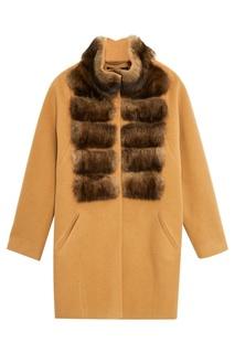 Бежевое пальто из кашемира с мехом соболя Dreamfur