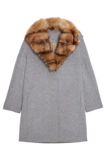 Серое кашемировое пальто с мехом куницы Dreamfur
