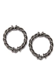 Серьги-кольца из черненого металла Oscar de la Renta