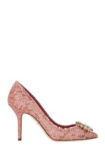 Розовые кружевные туфли Dolce&;Gabbana