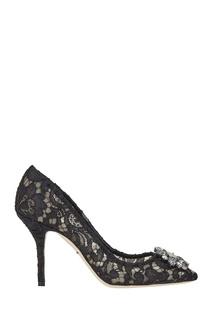 Черные кружевные туфли Dolce&;Gabbana