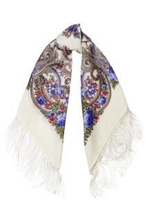 Белый платок с цветочным орнаментом Павловопосадская Платочная Мануфактура