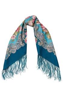 Бирюзовый платок с розами Павловопосадская Платочная Мануфактура