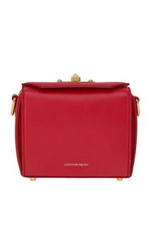 Красная кожаная сумка The Box Alexander Mc Queen