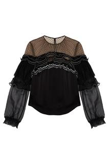 Черная блузка с кружевными воланами Self Portrait