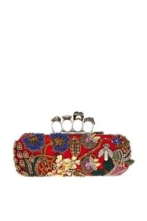 Кожаный клатч с кристаллами Knuckle Alexander Mc Queen