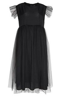 Черное шелковое платье с фатином Ivka