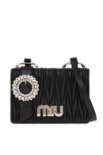 Кожаная сумка с драпировками Miu Logo