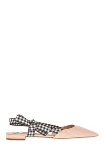 Бежевые лакированные туфли с бантами Miu Miu
