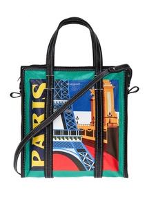 Кожаная сумка с принтом Bazar Paris S Balenciaga