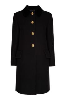 Черное пальто с золотистыми пуговицами Miu Miu