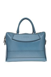 Кожаный портфель голубого цвета Canali